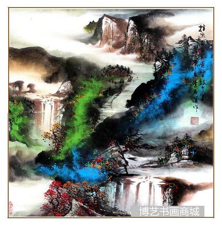 【叶君淇】山水画挂流三百丈,喷壑数十里69*69CM